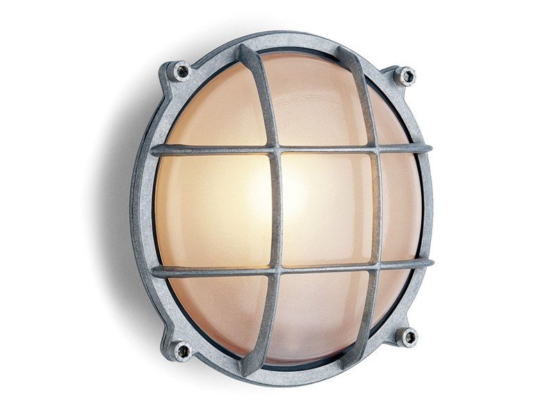 Glass and aluminium wall lamp 165252 | Cast aluminium light round - THPG