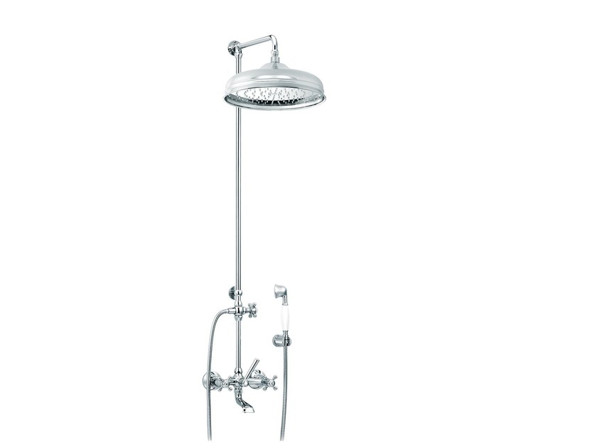 Wall-mounted brass shower panel with hand shower 1920-1921 | Wall-mounted shower panel - rvb