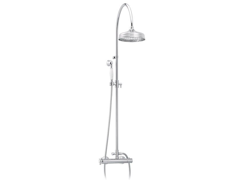 Wall-mounted brass shower panel with hand shower 1920-1921 | Shower panel - rvb