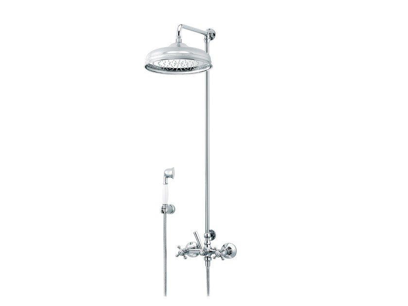 Wall-mounted shower panel with hand shower with overhead shower 1920-1921 | Wall-mounted shower panel - rvb