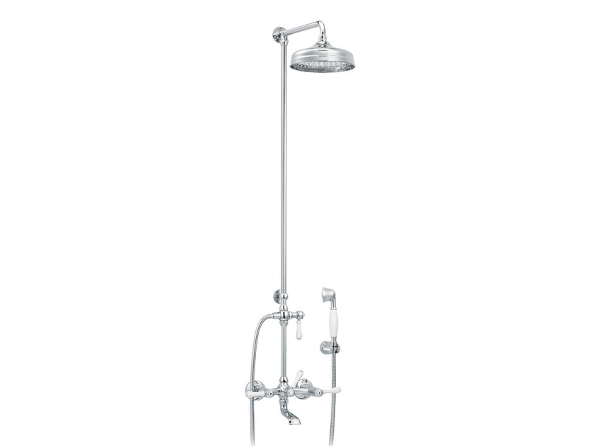 Wall-mounted brass shower panel with overhead shower 1935 LIMOGES | Shower panel with hand shower - rvb