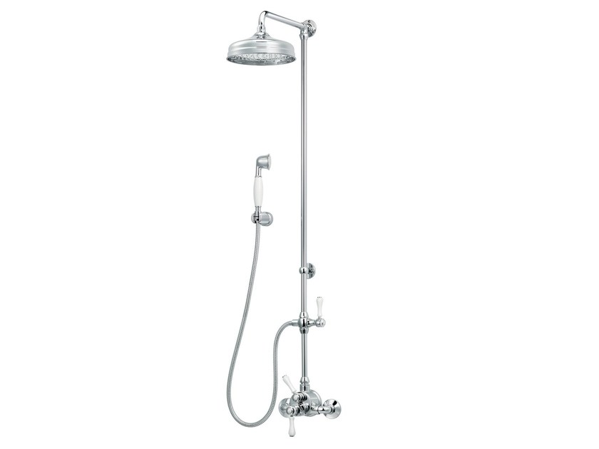 Wall-mounted thermostatic brass shower panel with overhead shower 1935 LIMOGES | Thermostatic shower panel - rvb