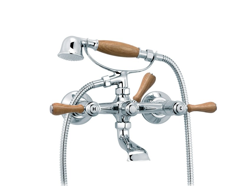 2 hole bathtub mixer with hand shower 1935 WOOD | Bathtub mixer - rvb