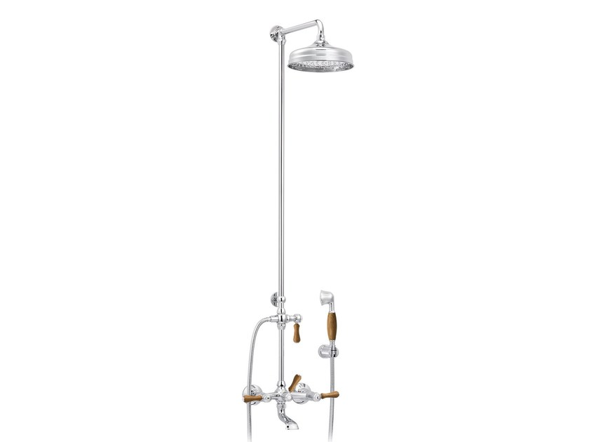 Wall-mounted brass shower panel with overhead shower 1935 WOOD | Wall-mounted shower panel - rvb