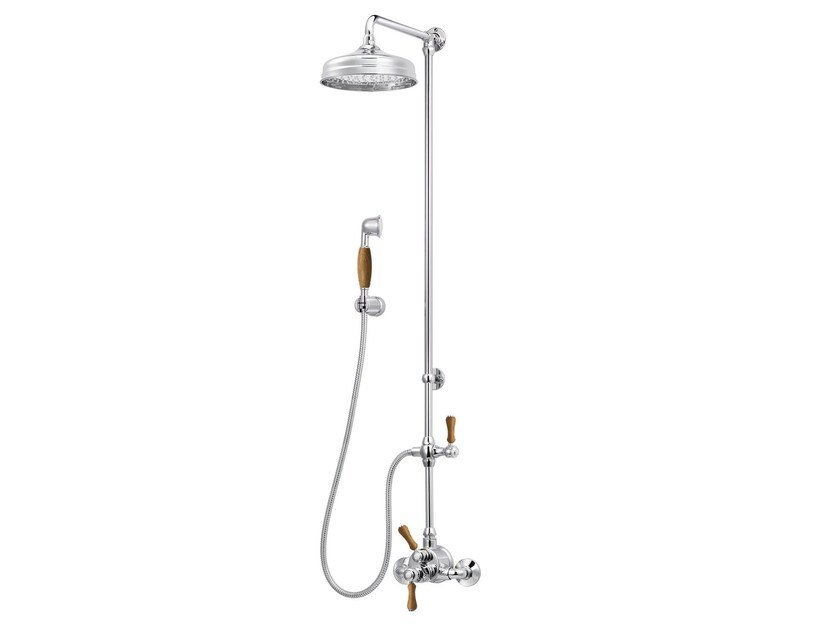 Brass shower panel with overhead shower 1935 WOOD | Shower panel - rvb