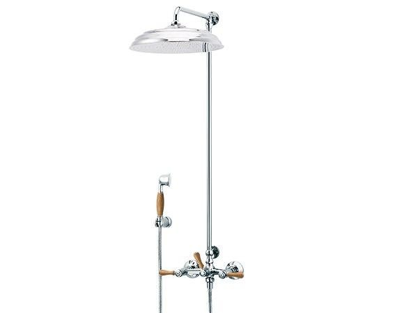 Brass shower panel with hand shower 1935 WOOD | Wall-mounted shower panel - rvb