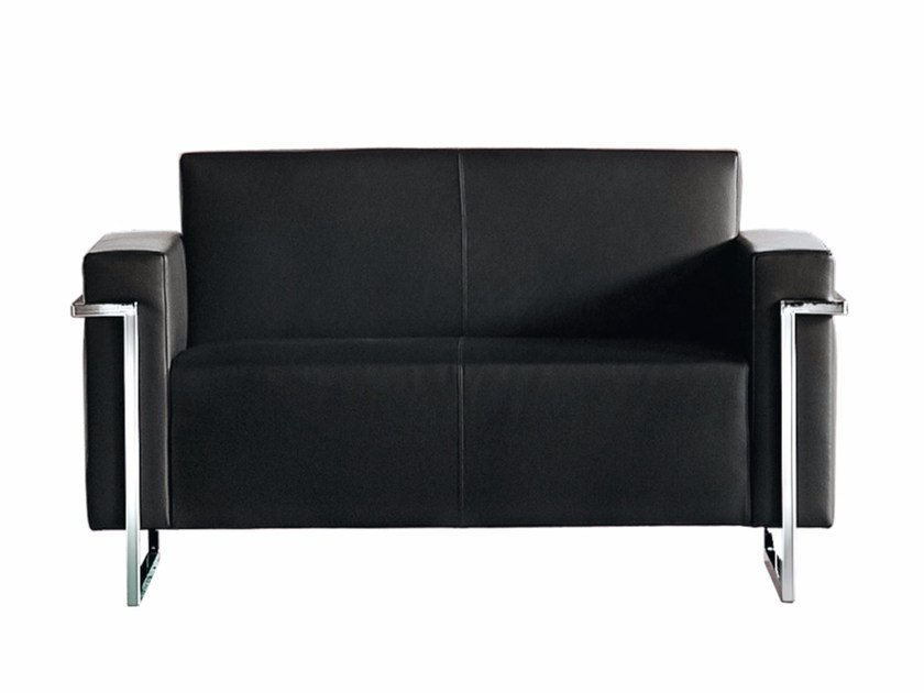Sled base upholstered 2 seater sofa MEMORIA   2 seater sofa by Luxy