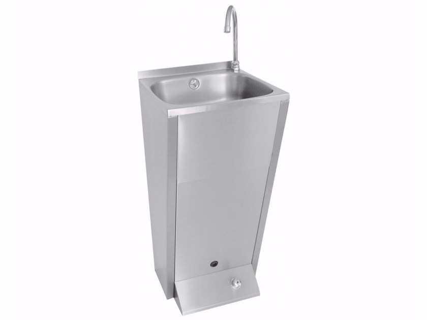 Freestanding rectangular single stainless steel washbasin 2095 | Washbasin - Saniline by Thermomat