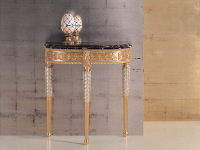 Demilune gold leaf console table 290 | Console table by Rozzoni