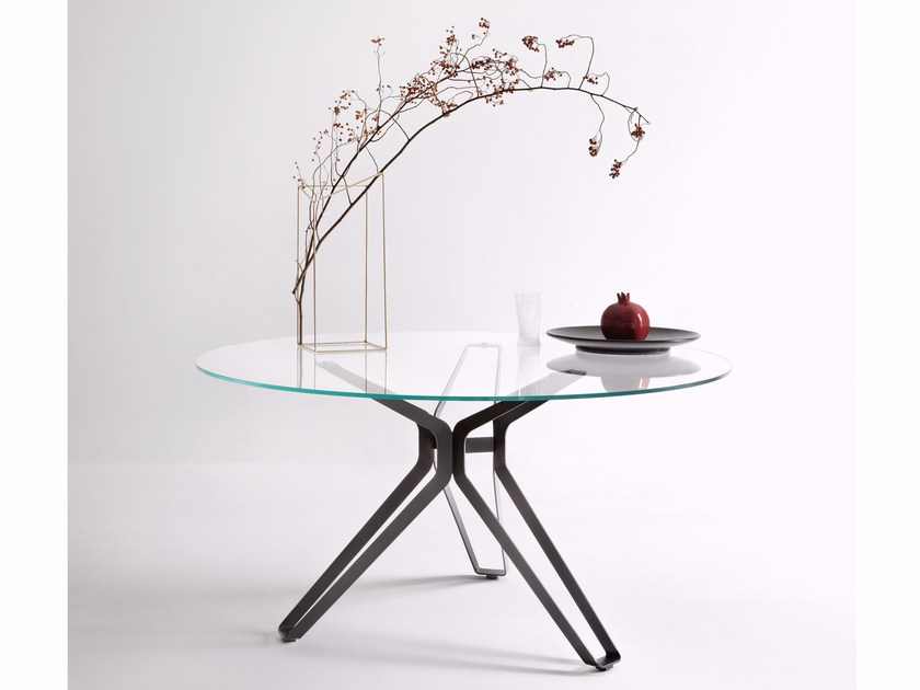 Round glass table 3-POD | Round table - Lema