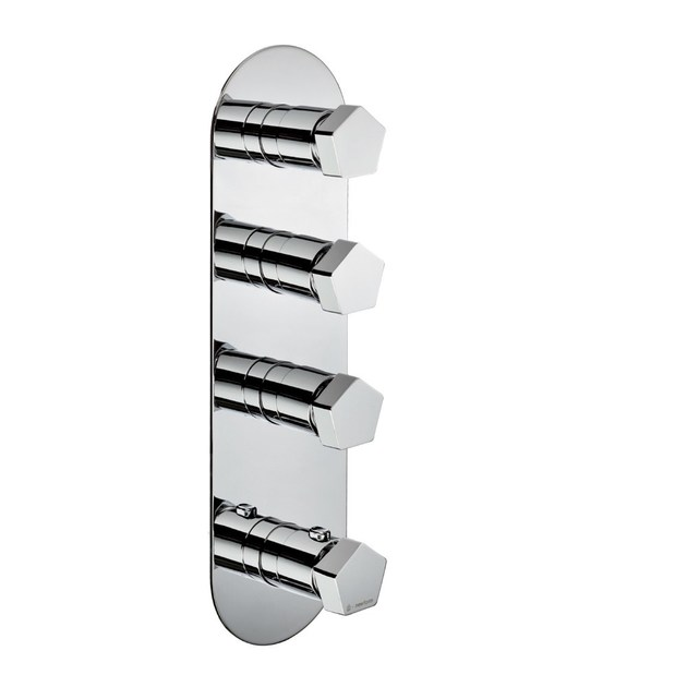 Thermostatic thermostatic shower mixer with plate 3-WAY OUT THERMOSTATIC SELECTORS   Thermostatic shower mixer with plate - NEWFORM