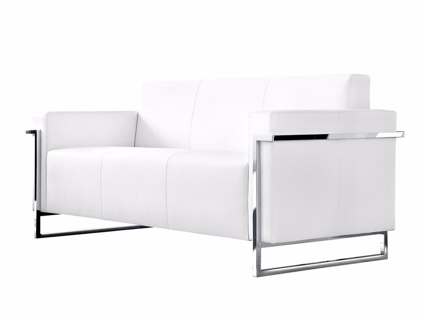 Sled base upholstered 3 seater sofa MEMORIA | 3 seater sofa - Luxy