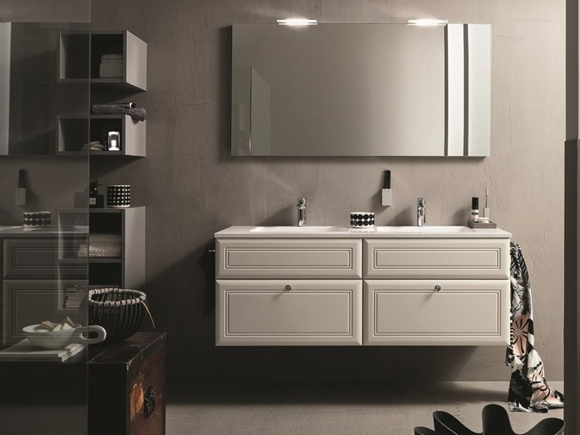 Vanity unit with cabinets with mirror 31 by RAB Arredobagno
