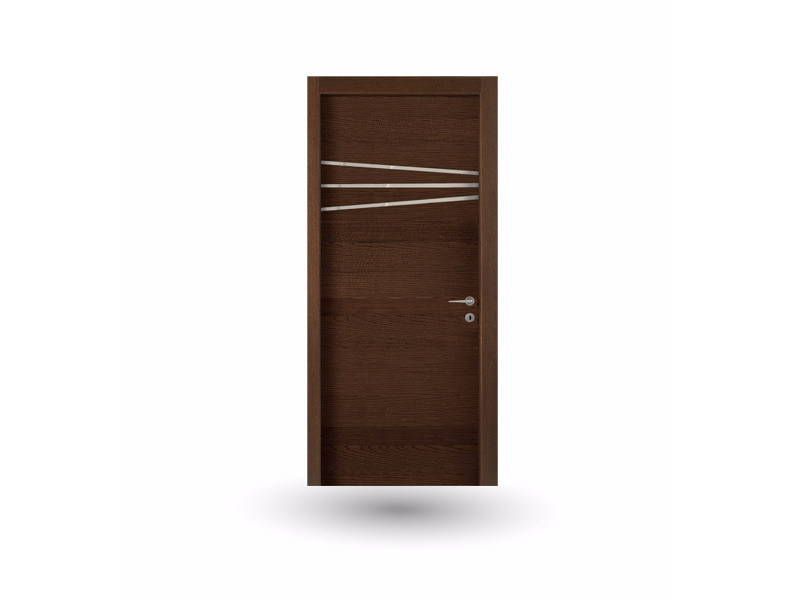 Hinged wooden door IMAGO 388 FRASSINO MOKA WITH INSERT - GD DORIGO