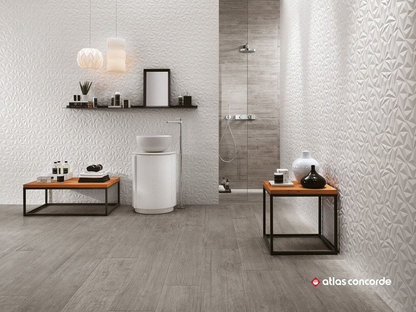White-paste 3D Wall Cladding 3D WALL DESIGN ANGLE by Atlas Concorde