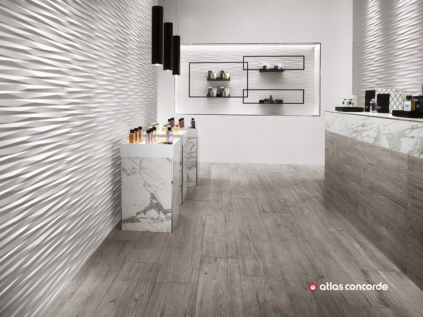 White-paste 3D Wall Cladding 3D WALL DESIGN BLADE by Atlas Concorde