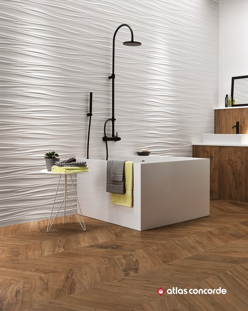 Rivestimento tridimensionale in ceramica a pasta bianca 3d wall design ribbon atlas concorde - Atlas concorde bagno ...