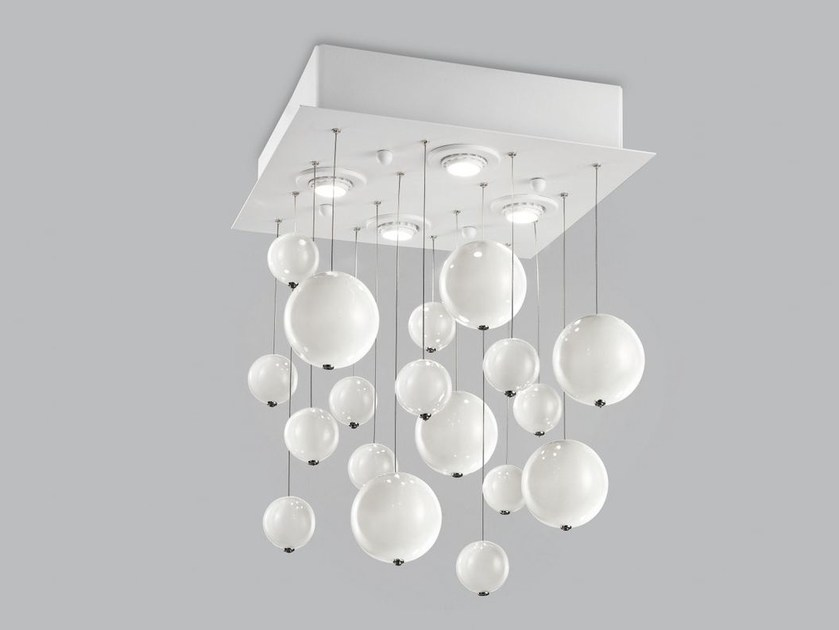 Blown glass ceiling lamp BOLERO 40x40 by Metal Lux