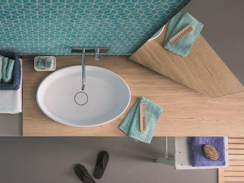 Wood veneer washbasin countertop 45   Washbasin countertop - Birex