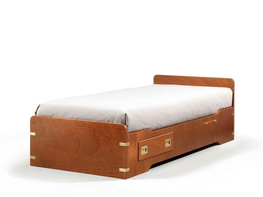 Wooden single bed with adjustable headrest for kids' bedroom 501 | Bed for kids' bedroom - Caroti