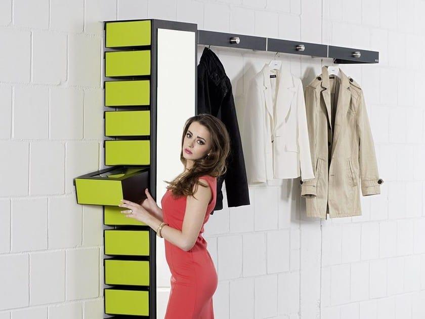 Lacquered wall mounted steel shoe cabinet FLEX 596 - Wissmann raumobjekte