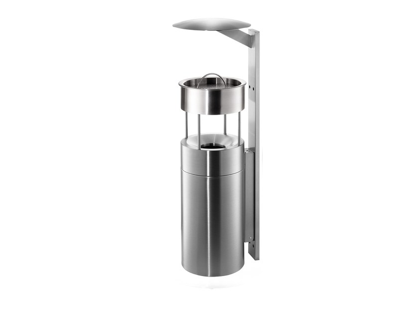 Wall-mounted stainless steel waste bin with ashtray 59ASR by rosconi