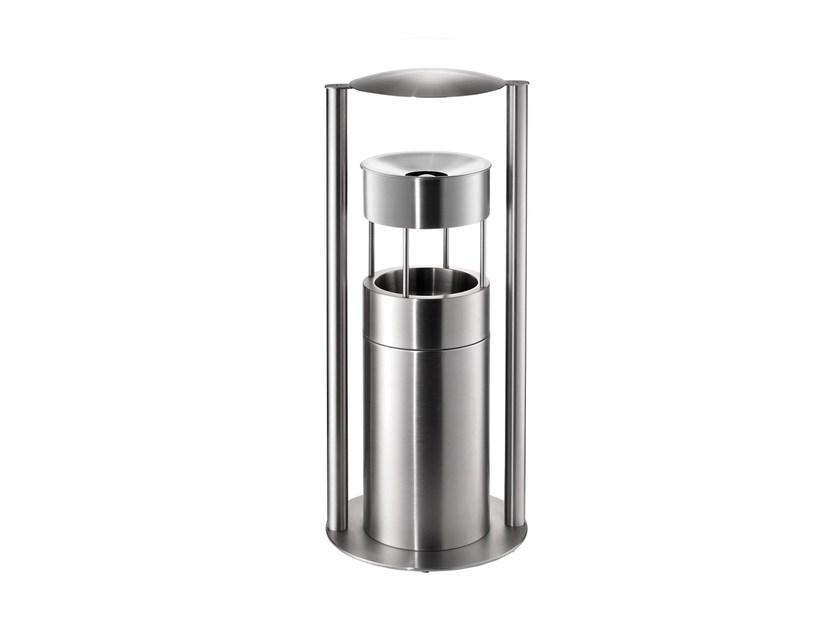 Stainless steel waste bin with ashtray 59ASR by rosconi