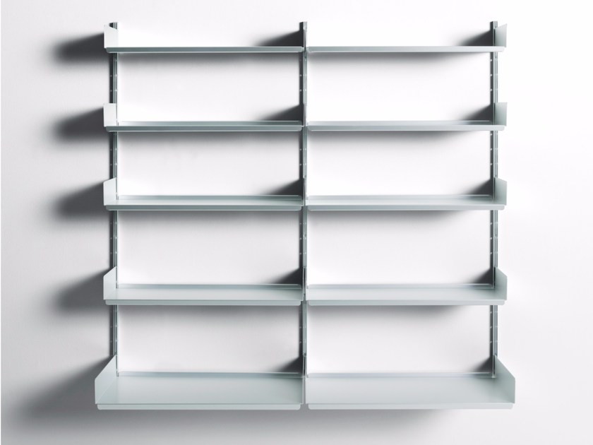 Sectional extruded aluminum bookcase 606 UNIVERSAL SHELVING SYSTEM - DE PADOVA