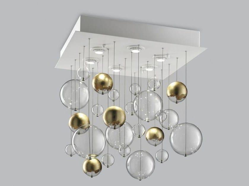 Blown glass ceiling lamp BOLERO 60x60 by Metal Lux