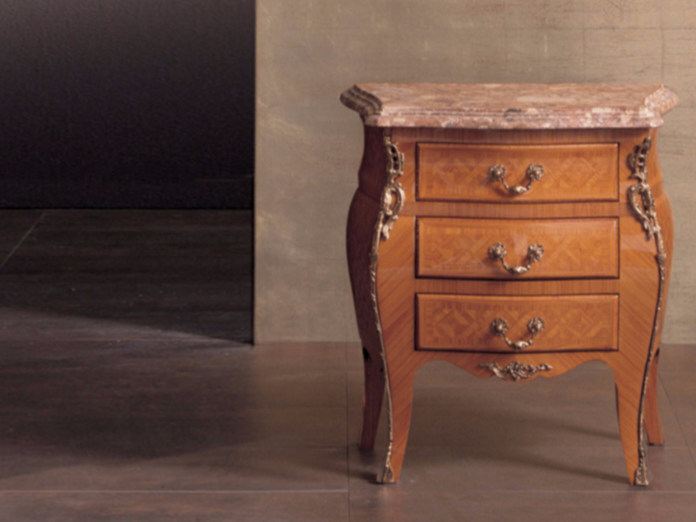 Rectangular wooden bedside table with drawers 61   Bedside table - Rozzoni Mobili d'Arte