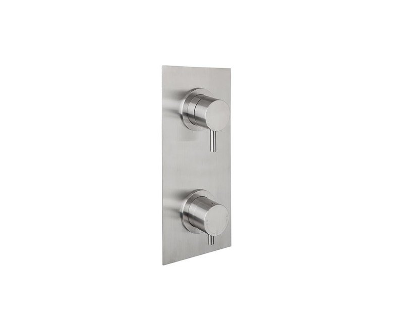 Stainless steel shower tap with brushed finishing with plate STIRIANA 66P2 - MINA