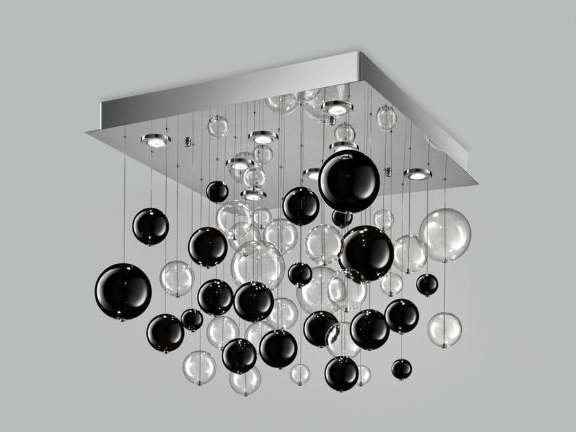 Lampada da soffitto in vetro soffiato BOLERO 80x80 - Metal Lux di Baccega R. & C.