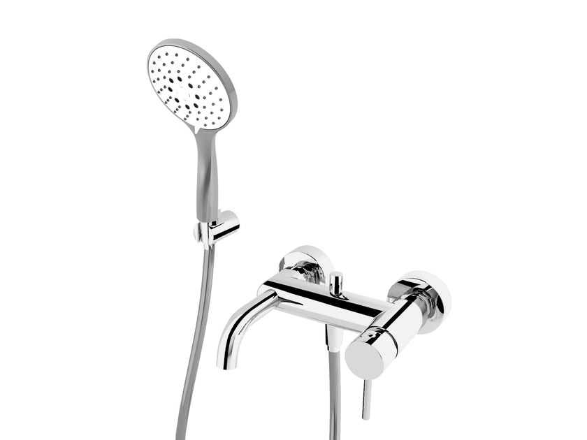 Wall-mounted bathtub mixer with hand shower NEW CLEO 84 - 8434006 by Fir Italia