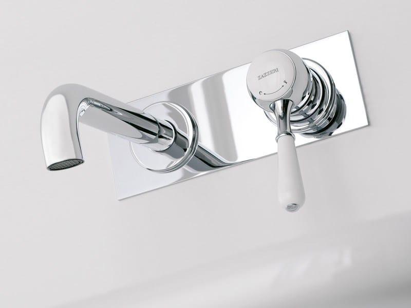 Wall-mounted single handle washbasin mixer with plate 900 | Wall-mounted washbasin mixer - ZAZZERI
