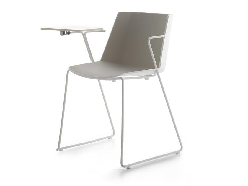 Sled base polypropylene training chair with writing tablet AÏKU | Training chair with writing tablet - MDF Italia