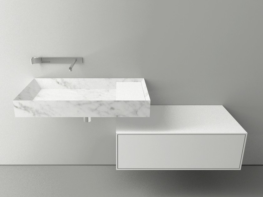 Single wall-mounted Carrara marble washbasin A45 STONE - Boffi