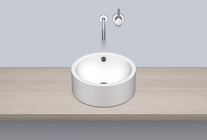 Sit-on basin from glazed steel AB.K400.2 by Alape