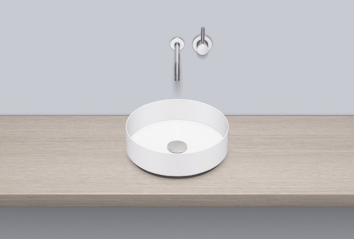 Contemporary style countertop round single metal washbasin AB.KE375 - ALAPE