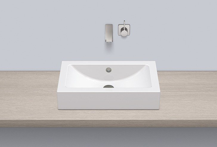 Sit-on basin from glazed steel AB.R585.2 by Alape