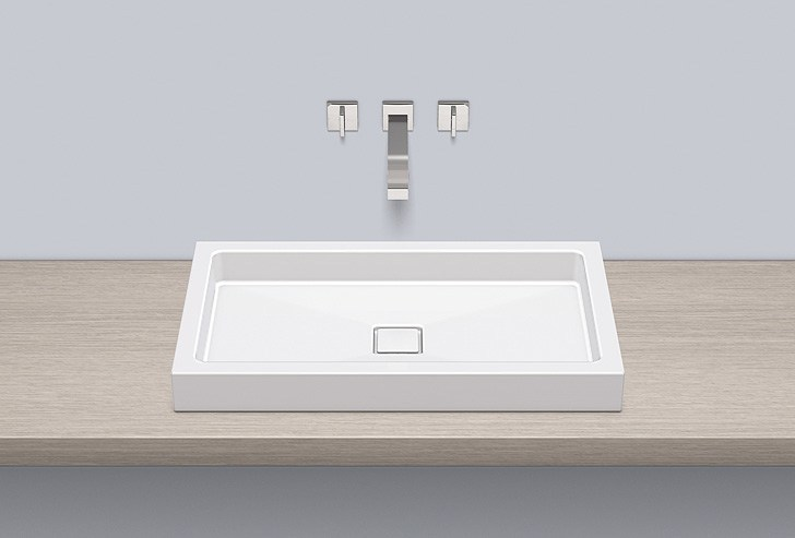 Sit-on basin from glazed steel AB.RE700.4 by Alape