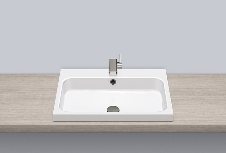 Sit-on basin from glazed steel AB.SR650H by Alape