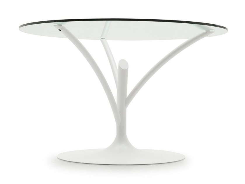 Round glass and steel table ACACIA - Calligaris