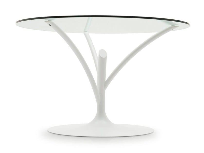 Tavolo rotondo in acciaio e vetro acacia calligaris for Calligaris tavolo rotondo