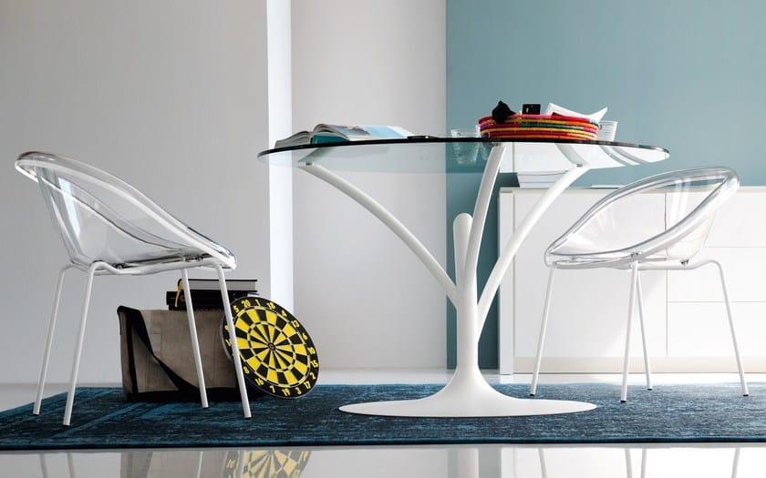 Tavolo rotondo in acciaio e vetro acacia calligaris - Tavolo calligaris in vetro ...