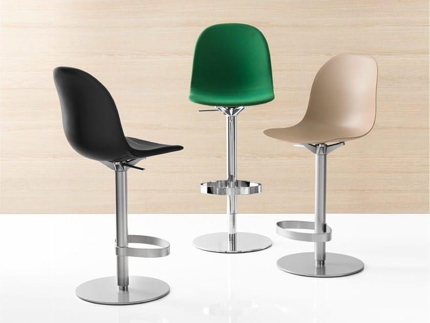 Swivel trestle-based counter stool ACADEMY | Trestle-based chair - Calligaris