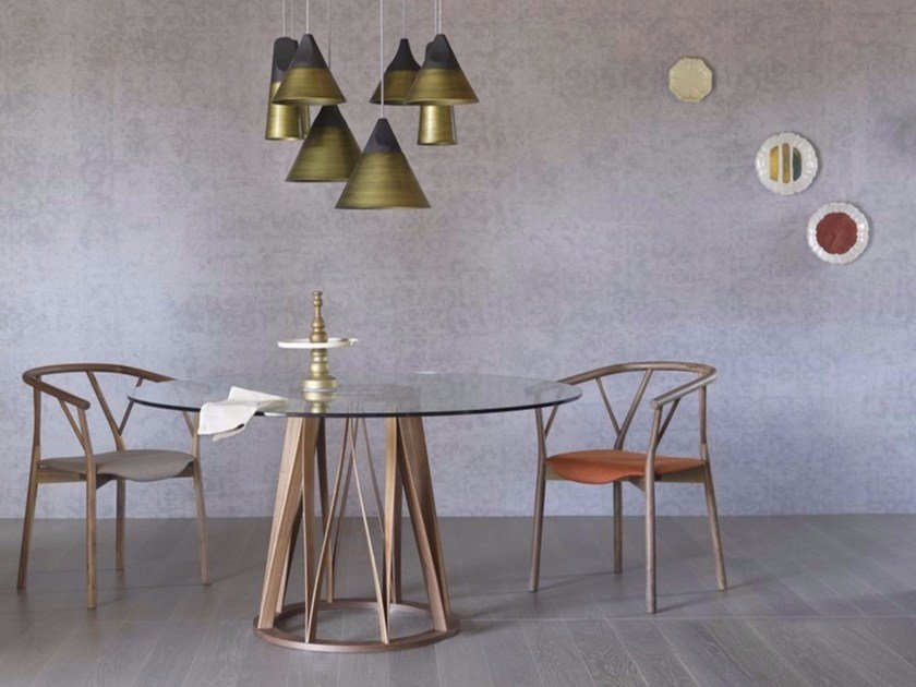 Round wood and glass dining table ACCO | Wood and glass table - Miniforms