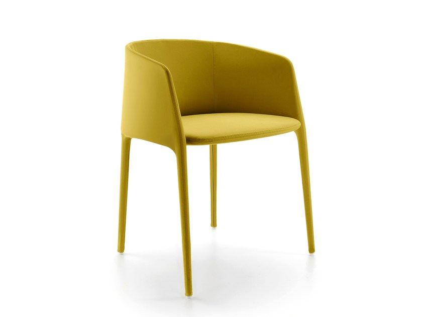 Upholstered fabric chair with armrests ACHILLE | Chair with armrests - MDF Italia