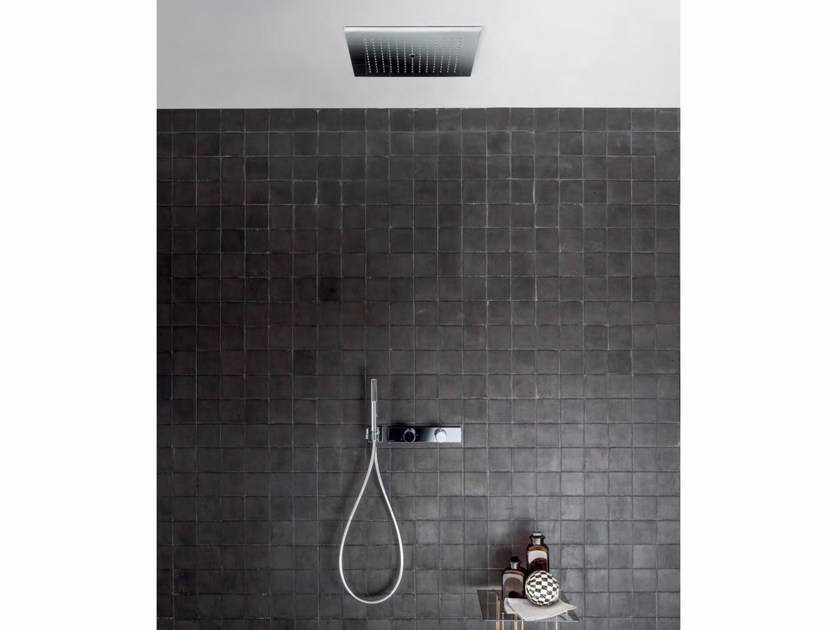 Shower mixer with hand shower with overhead shower ACQUADOLCE | Shower mixer with overhead shower by Fantini Rubinetti