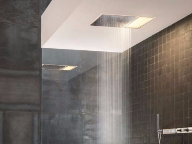 Ceiling mounted built-in overhead shower with built-in lights ACQUADOLCE - L041 - Fantini Rubinetti