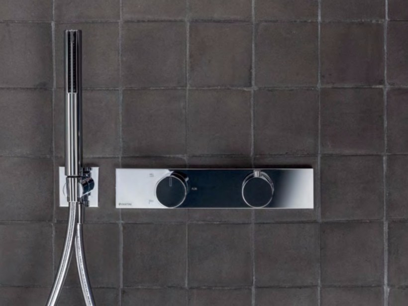 Metal thermostatic shower mixer with hand shower ACQUADOLCE | Thermostatic shower mixer with hand shower - Fantini Rubinetti